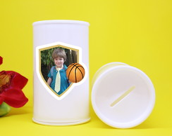 ... Cofrinho de plástico com foto – bola basquete 3747851b4e623