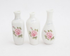 Trio de mini vasos porcelana decorado