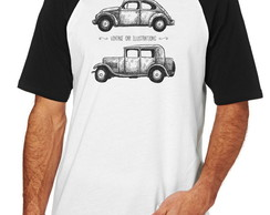 Camiseta Raglan Camisa Blusa Vintage car illustrations carro