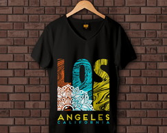 Camiseta Feminina Los Angeles Califórnia Praia Surf Tribal