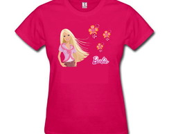 Camiseta Baby Look Feminina Rosa Barbie