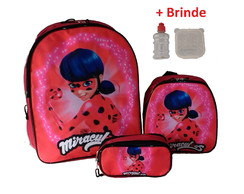 KIT Escolar - Mochila Lancheira Estojo - Lady Bug Miraculous