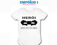 Body Bebê Estampa Divertida Herói Do Futuro