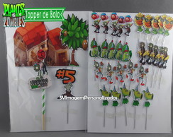 Topper de Bolo Plants vs Zombies Birthday 34 peças