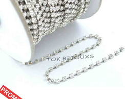 Corrente de Strass - SS6 - 2mm - Prata - Crystal - 1 METRO