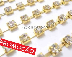 Corrente de Strass - SS6 - 2mm - Dourado - Crystal - 1 METRO