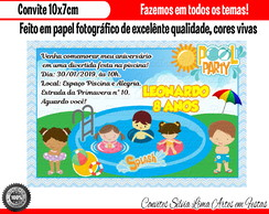 Convite Pool Party Festa na Piscina