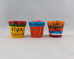 Trio de mini vasos mexicanos