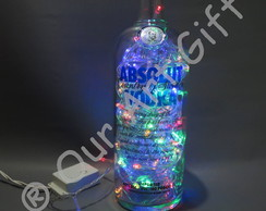 Luminária Artesanal Garrafa Vodka Absolut- 110v Led colorida