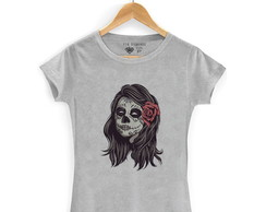 ... Camiseta Camisa Feminina Caveira Mulher Skull Camisa Flor 5473b80f8ac6c