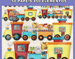 KIT PAPEL DIGITAL CARRINHOS - - 50 PAPEIS 450 ELEMENTOS