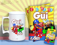 Kit Colorir e Caneca de Chopp Vingadores Cute