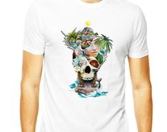 ... Camiseta Masculina Àgua Skull Praia Caveira Camisa Caveira 3a54e34386c57