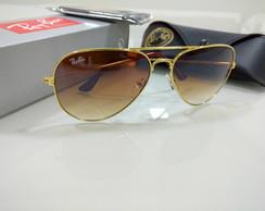 Oculos de Sol Ray Ban Aviador 3026 Marrom com Dourado   Elo7 7fcd12d216
