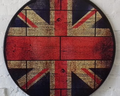 Placa Redonda Decorativa Union Jack