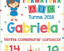 Convite Formatura Abc Menina Arquivo Digital Elo7