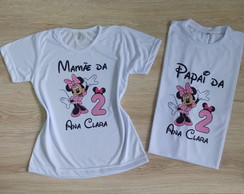 kit 2 camisetas personalizadas minnie rosa