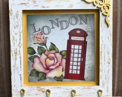 Quadrinho placa decorativa porta chaves Londres mdf