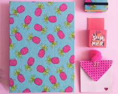 Kit Caderno Abacaxi + Post it + Washitape + envelope