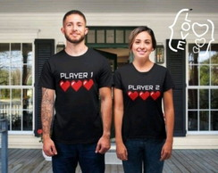 Camiseta Casal Player 1 e Player 2