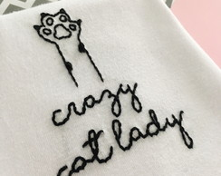 Camiseta Bordada Crazy Cat Lady
