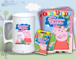 Kit Colorir e Caneca de Chopp Peppa Pigg