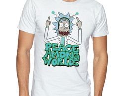 Camiseta Camisa Rick and Morty Peace among worlds