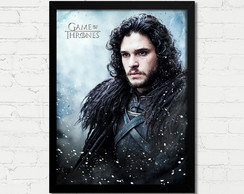 Quadro Game of Thrones Jon Snow Serie Poster Moldura Vidro A