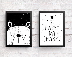 Quadros Escandinavo Infantil Urso Be Happy