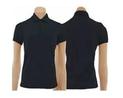 ... Kit com 5 Camisetas Gola Polo Feminino Preta 1d376044854fe