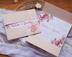 f6b26c58f0e ... Convite Casamento Relevo Seco e Floral Aquarela Rosa Chá II