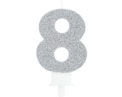 8f4bb9da1 ... Vela de Aniversário Glitter Número 8 Prata – 1 unidade