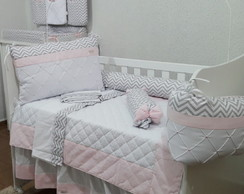 kit berço Rosa e Chevron 8 pcs