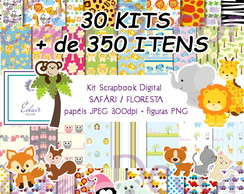 Kit Scrapbook Digital SAFÁRI / FLORESTA / ANIMAIS