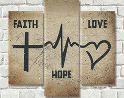 Quadro 3 partes - Faith Hope Love