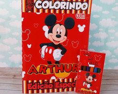 Kit Colorir Revistinha + Giz de Cera - Mickey