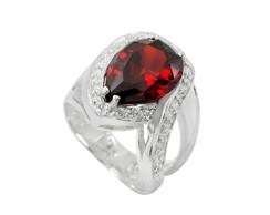 ... Anel em Prata 950 Feminino Pedra Zircônia cor Granada 862b4adab0