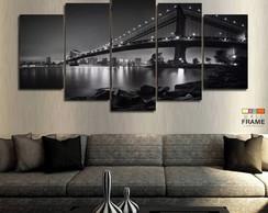 Quadro para sala com moldura branca manhattan bridge na online quadros
