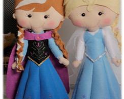 Personagens Frozen feltro - Elsa e Anna