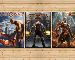 Conjunto 3 Quadros Trilogia Kratos God Of War Playstation A3