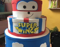Bolo cenográfico Super Wings 3 andares
