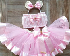 Conjunto de smash the cake da Minnie Rosa
