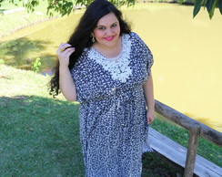 Vestido Longo Plus size Bordado Exclusivo extra G