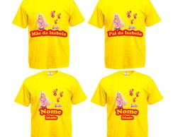 Kit 4 Camisetas Festa Infantil Barbie
