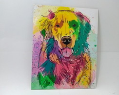 Placa Decorativa - Cachorro Golden Retriever - REF0266