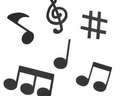 Aplique Decorativo Notas Musicais Grande 5 Unidades No Elo7