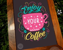 Quadro Vintage Frase Enjoy your Coffee
