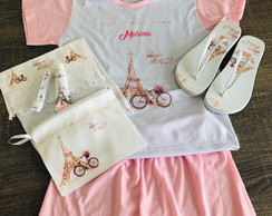 kit festa do pijama paris chinelo kit dental
