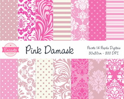 Kit Papel Digital - Pink Damask