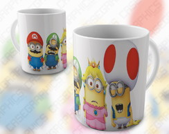 Caneca Super Mario Bros Minions Divertida Colorida Porcelana